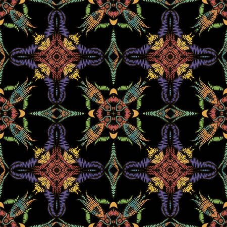 Bright colorful zigzag stitching embroidery style seamless pattern. Ornamental vector tapestry background. Floral grunge ornament with embroidered flowers, leaves, shapes. Textured ornate design