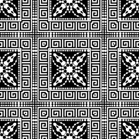 Black and white greek checkered seamless pattern. Vector floral background. Dotted greek key meander square frames ornament. Checkered repeat monochrome backdrop. Abstract flowers. Ethnic decor