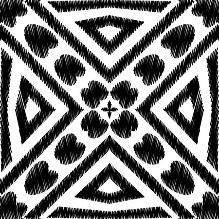 Textured black and white hatching vector seamless pattern. Embroidery style abstract geometric background. Repeat tapestry backdrop. Grunge embroidered ornaments. Modern grungy symmetrical design