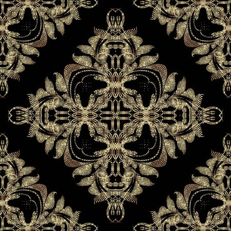 Textured luxury Baroque 3d seamless pattern, Vector grunge background. Modern repeat grungy ornate backdrop. Gold floral royal ornaments with textured vintage flowers, leaves, swirls, lines, shapes