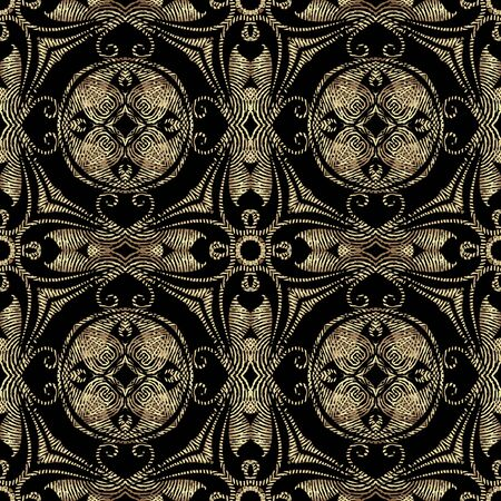 Textured Baroque 3d seamless pattern, Vector grunge background. Modern repeat grungy ornate backdrop. Gold floral royal ornaments with textured vintage flowers, leaves, swirls, lines, geometry shapes