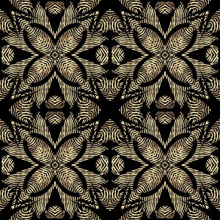 Textured gold vintage 3d seamless pattern, Vector grunge flourish background. Modern repeat grungy ornate backdrop. Golden floral royal ornaments with textured flowers, leaves, swirls, lines, shapes