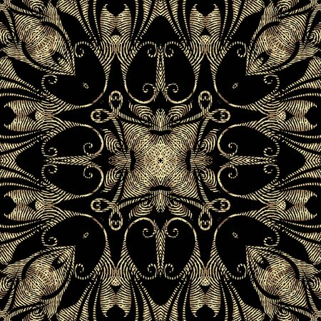 Textured gold Baroque 3d seamless pattern, Vector grunge background. Modern repeat grungy ornate backdrop. Golden floral royal ornaments with textured vintage flowers, leaves, swirls, lines, shapes Иллюстрация