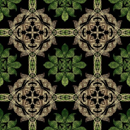 Textured Baroque 3d seamless pattern, Vector grunge background. Modern repeat grungy ornate backdrop. Gold green floral royal ornaments with textured vintage flowers, leaves, swirls, lines, shapes