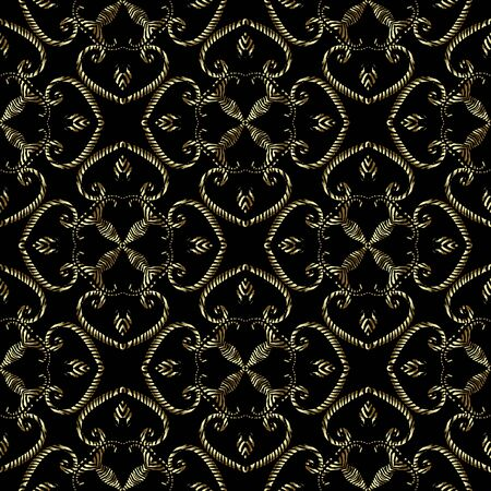 Textured gold arabesque 3d seamless pattern, Vector grunge ornamental background. Modern repeat grungy backdrop. Golden vintage floral ornament with textured flowers, leaves, swirls, lines, shapes Banque d'images - 138366307