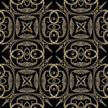 Gold 3d tribal ethnic style textured seamless pattern. Gold ornamental abstract grunge background. Repeat floral vector backdrop. Geometric grungy ornament with tapestry flowers, leaves, shapes Banque d'images - 138366308