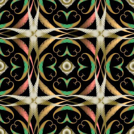 Modèle sans couture de style ethnique broderie colorée. Fond texturé géométrique de vecteur. Ornement floral de tapisserie avec des lignes en zigzag, des formes, des cadres. Fleurs paisley brodées. Texture grunge