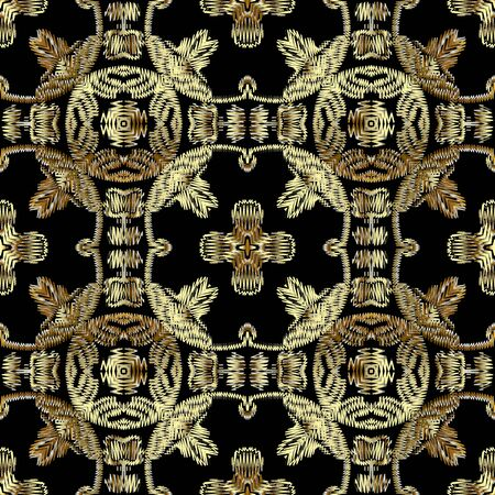Tapestry gold Baroque 3d seamless pattern. Embroidery ornamental vector background. Damask grunge vintage golden flowers, shapes. Textured fabric pattern. Patterned embroidered carpet ornaments  イラスト・ベクター素材