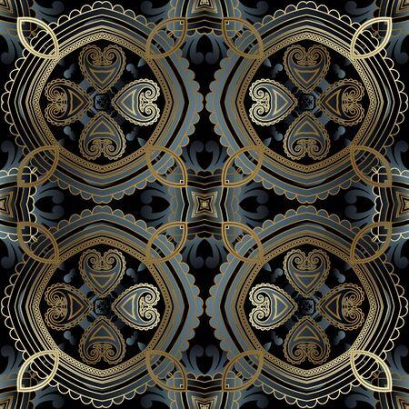 Ornamental 3d paisley vector seamless pattern. Vintage oriental ethnic style arabesque background. Repeat decorative ornate backdrop. Floral arabic lace ornaments with paisley flowers, leaves, lines Ilustração