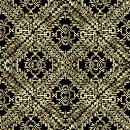 Tapestry gold waffle 3d seamless pattern. Embroidery ornamental vector background. Damask grunge vintage golden flowers, shapes, stripes. Textured fabric pattern. Patterned embroidered ornament