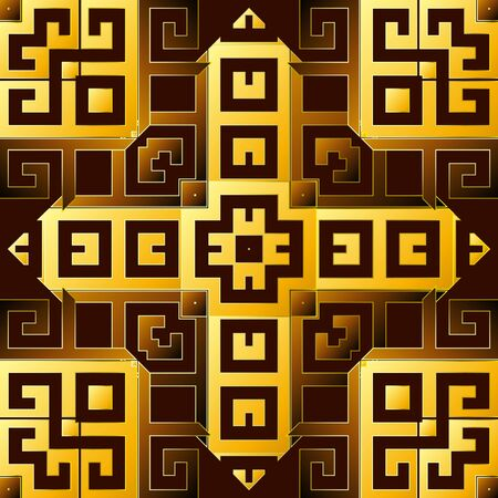 Greek 3d vector seamless pattern. Ornamental geometric ethnic tribal background. Colorful abstract trendy backdrop. Geometric modern ornate greek key meanders ornament. Beautiful repeat bright design 向量圖像