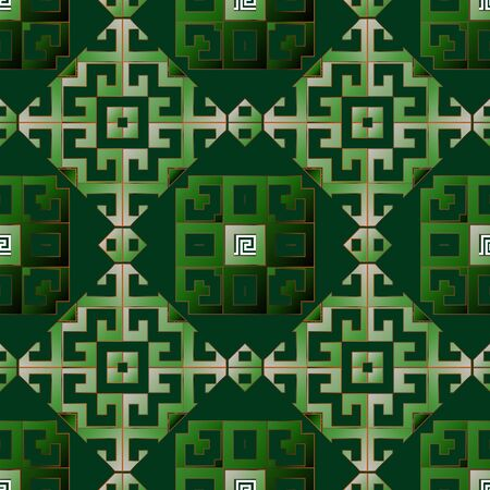 Greek vector seamless pattern. Ornamental geometric ethnic tribal green background. Colorful abstract trendy backdrop. Geometric modern ornate greek key meanders ornament. Beautiful repeat design 向量圖像