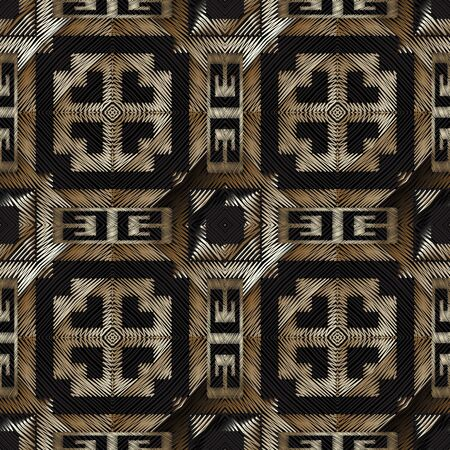 Textured embroidery 3d greek vector seamless pattern. Grunge geometric carpet background. Hatched modern greek key meanders grungy ornament. Tribal ethnic tapestry design. Embroidered texture