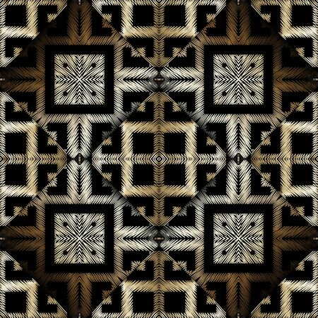 Textured embroidery 3d greek vector seamless pattern. Grunge ornamental geometric background. Hatched abstract greek key meanders grungy ornament. Tribal ethnic tapestry design. Embroidered texture Çizim