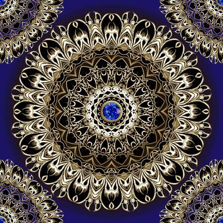Floral ethnic style lace 3d mandalas seamless pattern. Vector ornamental dark blue background. Elegance lacy mandalas. Beautiful flowers ornament. Repeat jewelry ornate backdrop. Sapphire gem stones