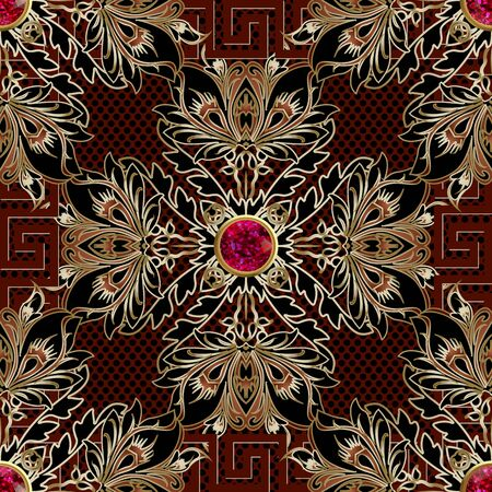 Floral vintage 3d seamless pattern. Vector ornamental polka dots background. Greek key meanders square frame. Jewelry repeat backdrop. Red gemstones, gold flowers, leaves. Ornate luxury ornaments