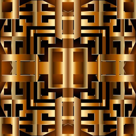 Gold geometric greek 3d vector seamless pattern. Ornamental modern grid background. Glowing repeat surface backdrop. Abstract luxury greek key meanders ornament. Textured 3d design. Ornate texture