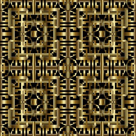 Gold geometric greek 3d vector seamless pattern. Ornamental modern grid background. Golden repeat surface backdrop. Abstract luxury greek key meanders ornament. Textured 3d design. Ornate texture 向量圖像