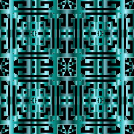 Geometric greek 3d vector seamless pattern. Ornamental modern grid background. Turquoise repeat surface backdrop. Abstract luxury greek key meanders ornament. Textured 3d design. Endless texture 向量圖像