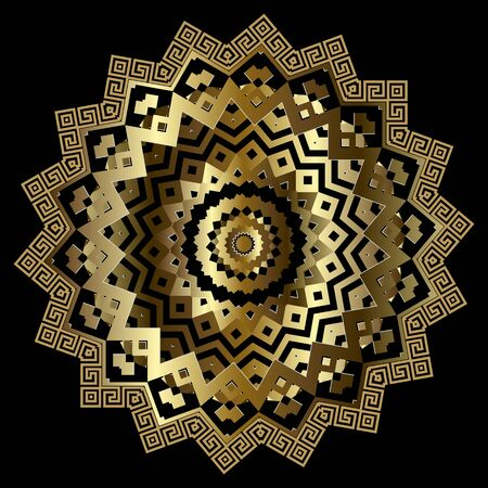 Zigzag gold 3d greek vector mandala pattern. Luxury ornamental modern background. Greek key meanders ornate zig zag ornament. Geometric decorative surface golden design with circles, shapes, lines 向量圖像