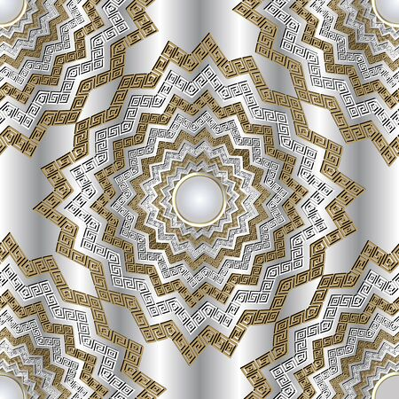 Zigzag 3d greek vector mandalas seamless pattern. Jewelry ornamental white background. Greek key meanders zig zag ornament. Geometric design with gemstones, shapes, zigzag lines. Surface texture 向量圖像