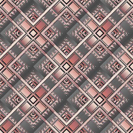 Waffle geometric 3d rhombus greek seamless pattern. Vector abstract background. Modern surface ornamental repeat backdrop. Wave lines, shapes, stripes. Trendy greek key meander geometrical ornaments