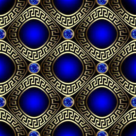 3d luxury greek vector seamless pattern. Ornate jewelry glowing blue background. Surface round sapphires gemstones. Rhombus, circles, greek key meander frames. Beautiful decorative geometric ornament