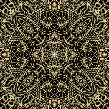 Floral lines vector seamless pattern. Ornamental ethnic tribal style lace background. Doodle line art tracery lacy ornament. Abstract shapes, vintage flowers. Elegance ornate repeat fantasy backdrop. Vettoriali