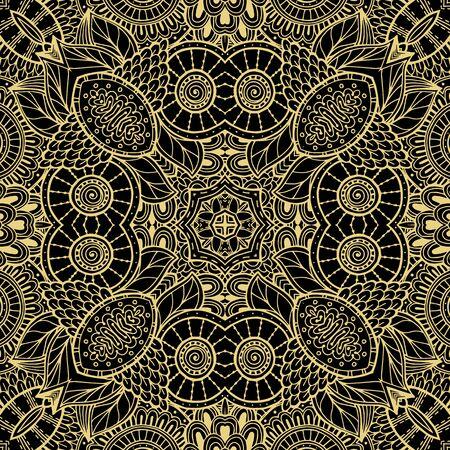 Nahtloses Muster des Blumenlinienvektors. Dekorativer ethnischer Stammes-Spitzenhintergrund. Gekritzellinie Kunstmaßwerk Spitzenverzierung. Abstrakte Formen, Vintage-Blumen. Eleganz verzierte Wiederholungs-Fantasy-Kulisse. Vektorgrafik