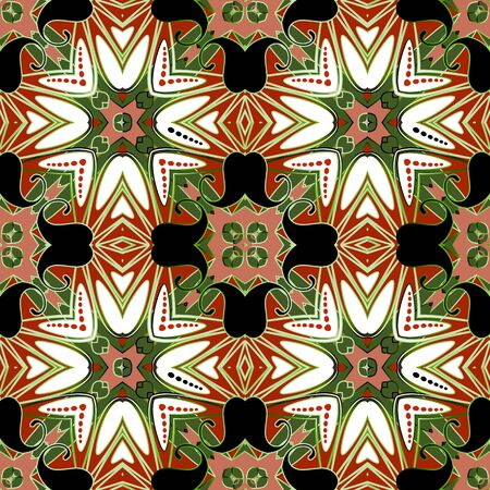 Colorful ethnic style Paisley seamless pattern. Vector floral ornamental background. Tribal repeat backdrop. Abstract paisley flowers, leaves, shapes, mandalas, dots. Beautiful patterned design Vector Illustration