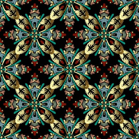 Embroidery Baroque vector seamless pattern. Colorful floral grunge background. Tapestry wallpaper. Carpet. Damask flowers, leaves, hatching baroque ornaments. Embroidered texture. Renaissance style 矢量图像