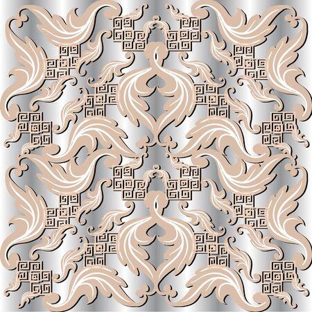 Vintage Baroque 3d vector seamless pattern. Floral ornamental greek silver background. Geometric repeat backdrop. Modern greek key meander ornament. Baroque style flowers, leaves. Luxury design.