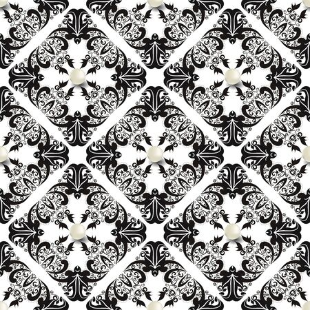 Vintage Damask vector seamless pattern. Black and white floral jewelry background. White 3d pearls. Gemstones. Baroque style flowers, leaves. Elegant beautiful ornaments. Ornate luxury design. Foto de archivo - 143299603