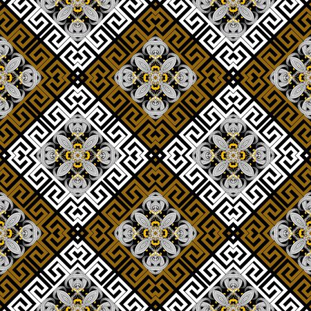 Waffle seamless pattern. Vector abstract colorful geometric background. Repeat rhombus backdrop. Line art tracery hand drawn intricate flowers. Greek key meanders frames. Symmetrical modern ornaments. Foto de archivo - 143299602