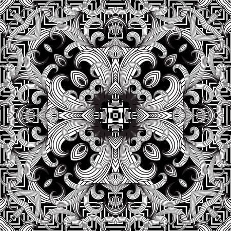 Floral intricate seamless pattern. Vector abstract black and white geometric background. Line art tracery hand drawn flowers, striped leaves, mandalas. Greek key frames, borders. Beautiful ornaments. Vettoriali