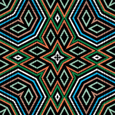 Textured vector seamless pattern. Colorful striped background. Tapestry abstract shapes, rhombus, frames, stripes, zigzag lines. Embroidery geometric ethnic tribal ornament. Embroidered texture