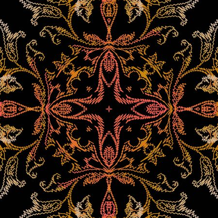 Embroidery Baroque vector seamless pattern. Ornamental floral background. Repeat backdrop. Tapestry vintage flowers, stitching lines, zigzag, leaves. Embroidered Damask ornaments. Grunge texture