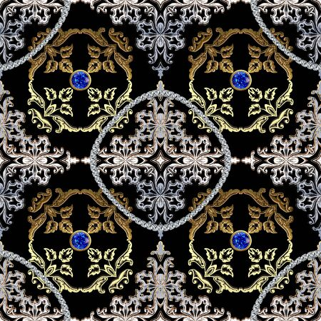 Jewelry gold Baroque 3d vector seamless pattern. Ornamental floral Damask background. Vintage golden flowers, leaves. Jewellery gemstones, Blue sapphires. Brilliant diamonds. Luxury royal ornaments