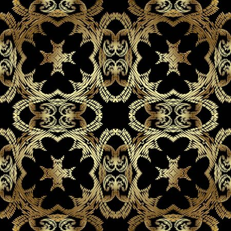 Textured vintage gold seamless pattern. Ornamental tapestry floral background. Baroque Damask embroidery ornaments. Embroidered flowers, leaves. Stitching zigzag lines. Grunge texture. Ornate design 矢量图像
