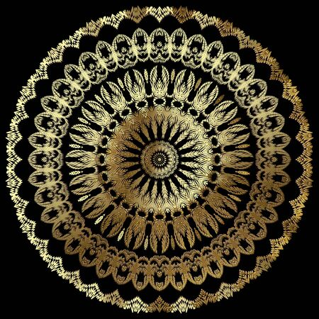 Textured vintage gold mandala pattern. Ornamental tapestry floral background. Baroque embroidery round ornaments. Embroidered golden flowers, leaves. Grunge texture. Ornate luxury lacy design. Vector.