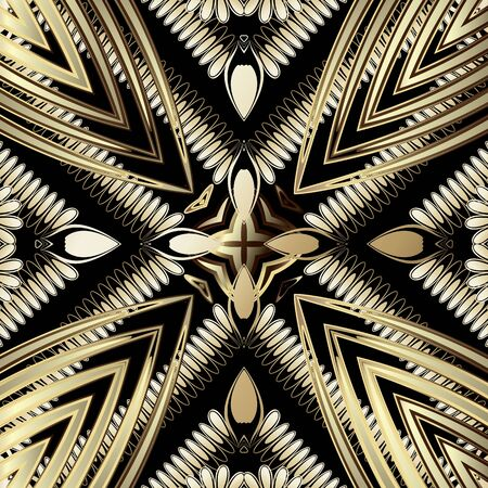 Gold luxury 3d abstract vector seamless pattern. Ornamental radial shapes background. Fractal line art tracery surface ornament. Textured geometric repeat backdrop. Modern striped floral 3d design.