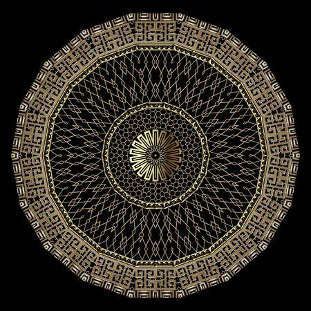 Gold greek style 3d grid vector mandala pattern. Ornamental golden lace zig zag background. Greek key meander round frames, shapes, zigzag, circles. Textured repeat ornament. Geometric ornate design.