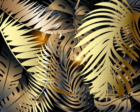 Palm leaves modern pattern. Ornamental colorful glowing 3d background. Decorative floral shiny backdrop. Tropical plants. Leafy golden ornament. Exotic vector illustration. For wallpapers, decoration.