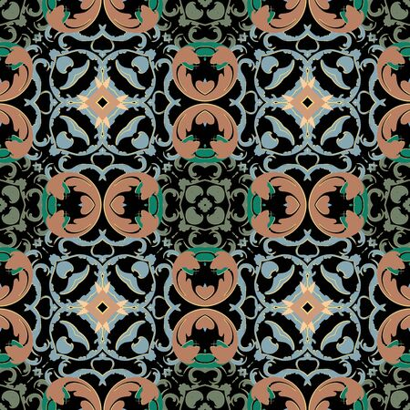 Baroque vector seamless pattern. Ornamental colorful Damask background. Royal Victorian style baroque ornaments. Repeat patterned backdrop. Vintage flowers, leaves, lines, Beautiful ornate design