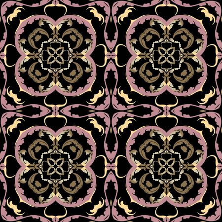Baroque vector seamless pattern. Ornamental colorful Damask background. Royal Victorian style baroque ornaments. Repeat patterned backdrop. Vintage flowers, leaves, lines, Beautiful floral design