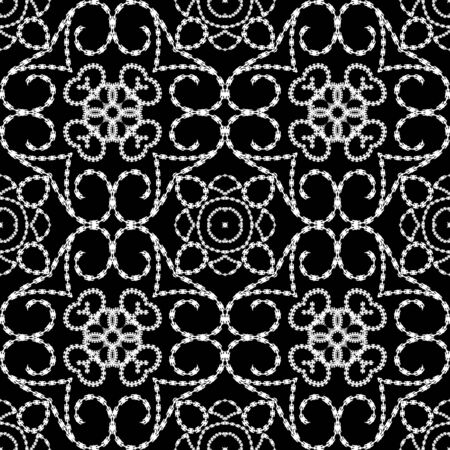 Vintage line art floral arabic vector seamless pattern. Black and white ornamental ethnic background. Repeat decorative monochrome backdrop. Arabesque ornaments. Dotted lines textured endless design