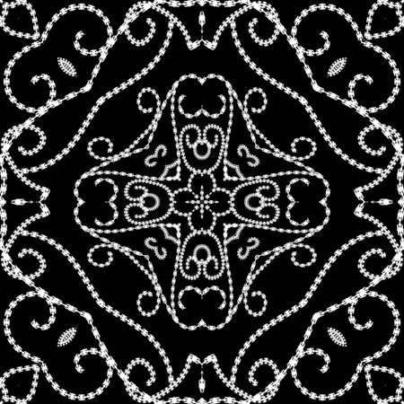 Vintage line art floral vector seamless pattern. Black and white ornamental ethnic background. Repeat decorative monochrome backdrop. Line art tracery swirls ornaments. Dotted textured endless design  イラスト・ベクター素材