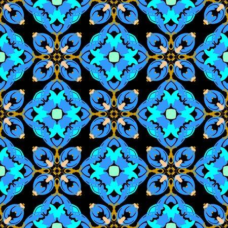 Floral vector seamless pattern. Ornamental colorful background. Ethnic style flourish ornaments. Repeat patterned backdrop. Vintage blue flowers, leaves, lines, Beautiful elegance flowery design