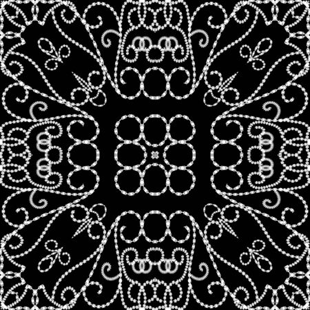 Vintage line art floral vector seamless pattern. Black and white ornamental ethnic background. Repeat decorative monochrome backdrop. Line art tracery swirls ornaments. Dotted textured endless design 矢量图像