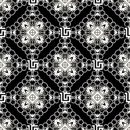 Vintage floral Baroque seamless pattern. Vector ornamental black and white background. Ornate repeat backdrop. Damask ornaments with chains. Greek style design. For wallpapers, fabric, prints